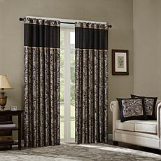 Madison Park Aubrey Jacquard Panel Curtain Pair - Black - 50 x 108""