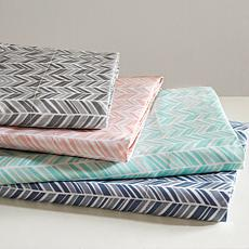 Madison Park Essentials Chevron Microfiber Sheet Set - Grey - Queen