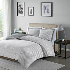 Madison Park Essentials Hayden Stripe Duvet Cvr Set Grey Full/Queen