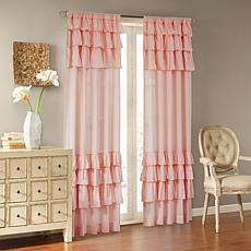 "Madison Park Jocelyn Cotton Oversized Ruffle Curtain-Pink-50""x63"""