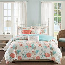Madison Park Pebble Beach 6pc Coral Duvet Set - K/CK