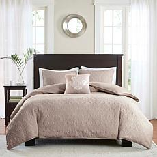 Madison Park Quebec 4-piece Khaki 2-in-1 Duvet Set - Fu