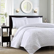 Madison Park Quebec King/Cal King Quilted Coverlet Mini Set - White