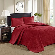 Madison Park Quebec Queen Quilted Bedspread Set - Red