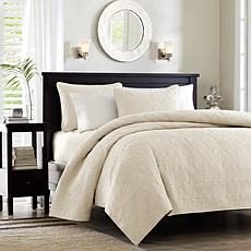 Madison Park Quebec Twin/Twin XL Quilted Coverlet Mini Set - Ivory
