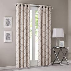 "Madison Park Saratoga Fretwork Curtain-Beige-50""x84"""