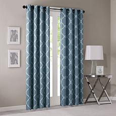 "Madison Park Saratoga Fretwork Curtain - Blue - 50""x95"""