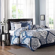 Madison Park Vienna 7-piece Cotton Comforter Set - Indigo, King