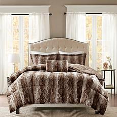 Madison Park Zuri  Faux Fur Comforter Set-Chocolate-F/Q