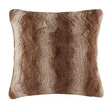 "Madison Park Zuri Faux Fur Euro Pillow 25""x25"" - Tan"