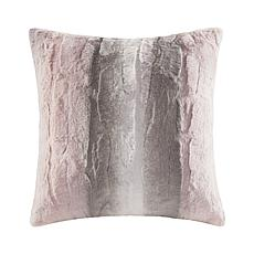 "Madison Park Zuri Faux Fur Square Pillow 20""x20"" -  Blush/Grey"