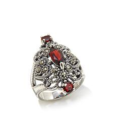 Marcasite & 3-Stone Garnet Shield-Design Sterling Ring