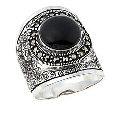 Marcasite and Black Onyx Etched Circle-Design Ring