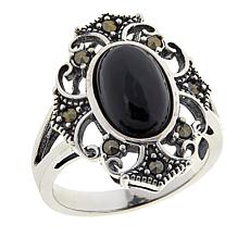 Marcasite and Black Onyx Sterling Silver Ornate Cross Ring