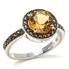 Marcasite and Citrine Round Sterling Silver Ring