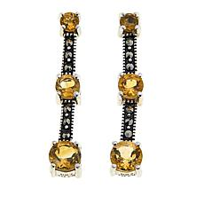 Marcasite and Citrine Sterling Silver 3-Stone Drop Earrings