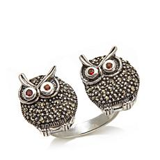 Marcasite and Garnet 2-Owl Open-Design Sterling Ring