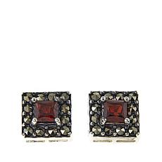 Marcasite and Garnet Sterling Silver Square Stud Earrings