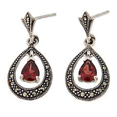 Marcasite and Garnet Sterling Silver Teardrop Earrings