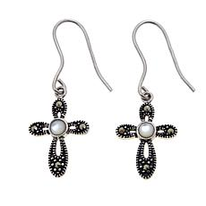 Marcasite & Mother-of-Pearl Cross-Design Drop Earrings