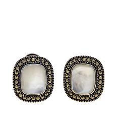 Marcasite and Mother-of-Pearl Sterling Silver Studs