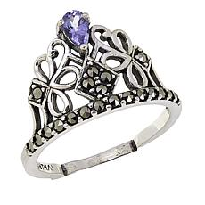 Marcasite and Tanzanite Sterling Silver Tiara Ring