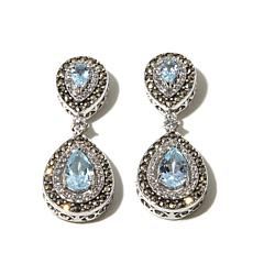 Marcasite, Blue and White Topaz Sterling Drop Earrings