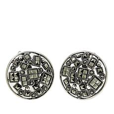Marcasite Round and Square Design Stud Earrings