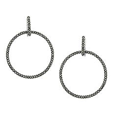 Marcasite Sterling Silver Doorknocker Hoop Earrings