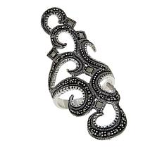 Marcasite Sterling Silver Elongated Swirled Filigree Ring