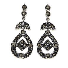 Marcasite Sterling Silver Open Teardrop Geometric Earrings