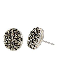 Marcasite Sterling Silver Oval Stud Earrings