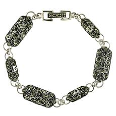 Marcasite Sterling Silver Rectangle-Link Line Bracelet