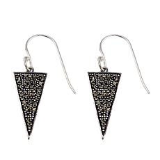 Marcasite Sterling Silver Triangular Drop Earrings