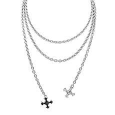 Margo Manhattan Sterling Silver Gemstone Cross Lariat Necklace