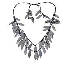 "MarlaWynne 31-1/4"" Leaf Dangle Two-Row Necklace"