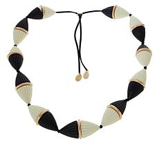 """MarlaWynne 43-1/8"""" Black and White Mixed Media Adjustable Necklace"""
