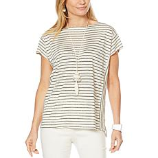 MarlaWynne Boat Neck Boxy Top with Cap Sleeves