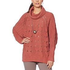 MarlaWynne Chenille Chunky Cable Sweater