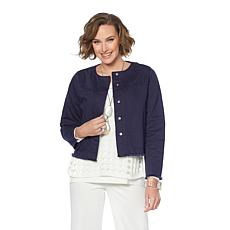 MarlaWynne Cropped Denim Jacket with Raw-Edge Detail