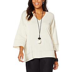 MarlaWynne Drop Shoulder V-Neck Sweater