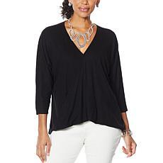 MarlaWynne Linen Jersey Twist Front Top
