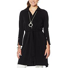 MarlaWynne Luxe Crepe Shirt Dress with Belt