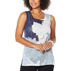 MarlaWynne Semi-Sheer Printed Slub Knit Tank