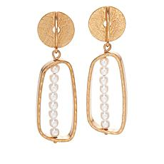 MarlaWynne Simulated Pearl Open Space Drop Earrings