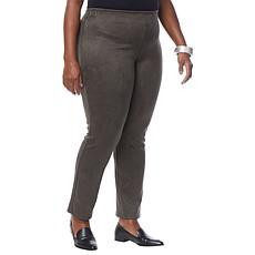 MarlaWynne Stretch Faux Suede Straight-Leg Pant