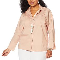 MarlaWynne Stretch Poplin Shirt with Pockets