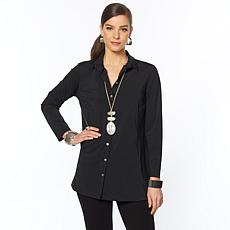 MarlaWynne Stretch Tech Button-Up Shirt with Pockets