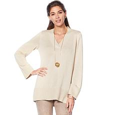 MarlaWynne V-Neck Crescent Hem Sweater