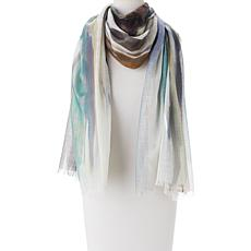 MarlaWynne Watercolor Foil Print Scarf with Fringe
